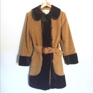 {Vintage} Rare Fur & HeekSuede Winter Coat Sz S/M